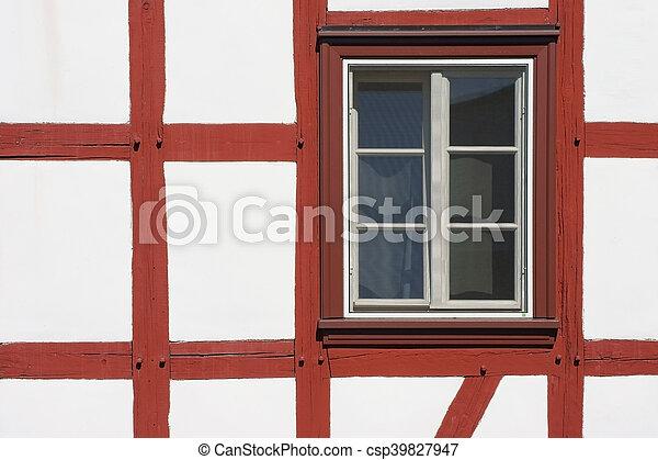 Extrem Fassade, haus, fenster, fachwerk. Nahaufnahme, fachwerkhaus VQ35