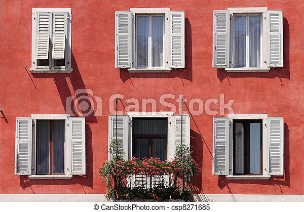 Fassade Windows Weiss Rot Windows Trento Italien