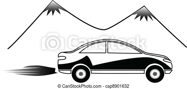 fast car logo. Silhouette of fast car and mountains design.