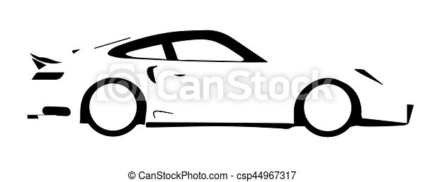Fast Car Outline A Fast Car In Silhouette Over A White Vector