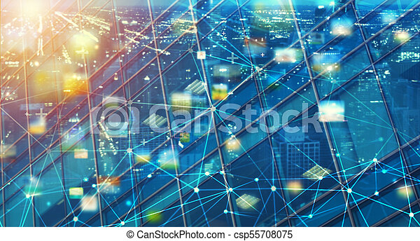 Fast connection abstract technology background with sharing effects - csp55708075