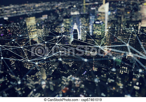Fast connection in the city. Abstract technology background. - csp67461019