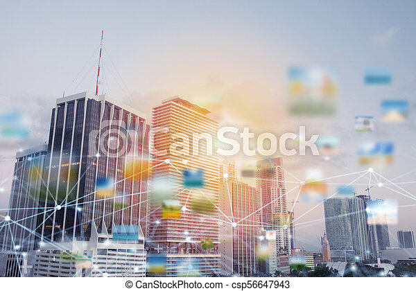 Fast connection in the city. Abstract technology background - csp56647943