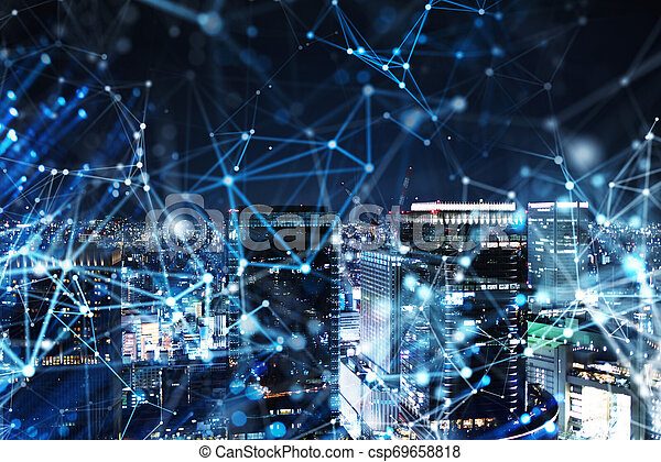 Fast connection in the city at night. Abstract technology background - csp69658818