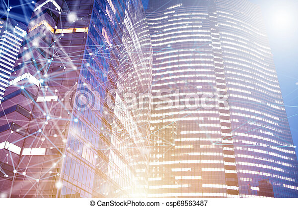 Fast connection in the city at night. Abstract technology background - csp69563487