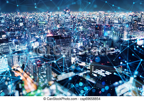 Fast connection in the city at night. Abstract technology background - csp69658854
