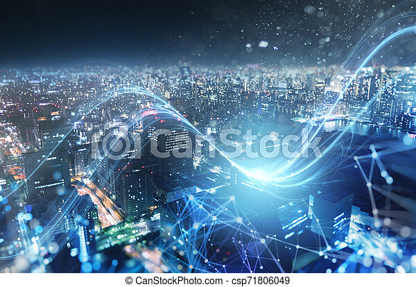 Fast connection in the city at night. Abstract technology background. - csp71806049