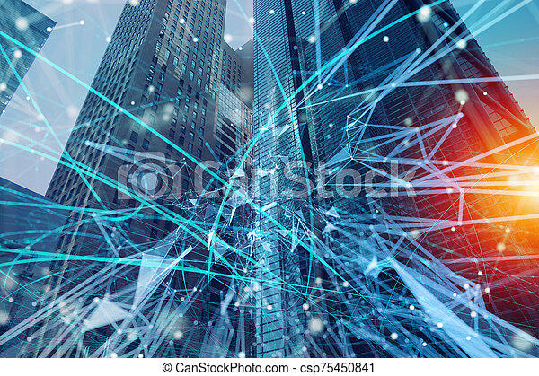 Fast connection in the city at night. Abstract technology background - csp75450841