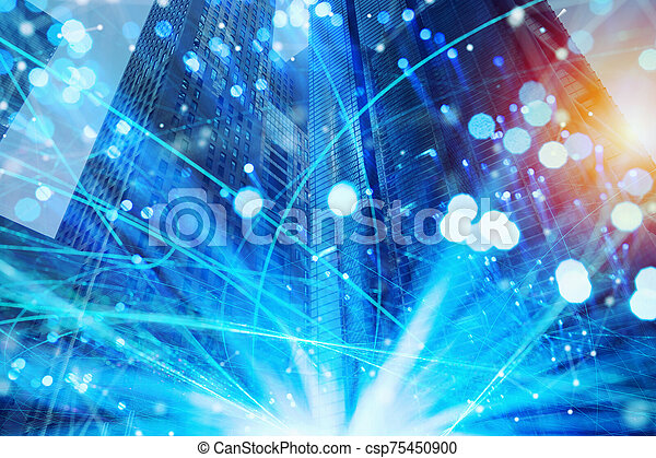 Fast connection in the city at night. Abstract technology background - csp75450900