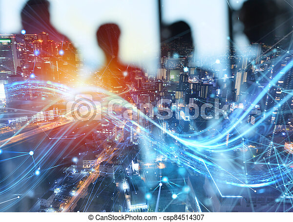 Fast connection in the city at night. Abstract technology background - csp84514307