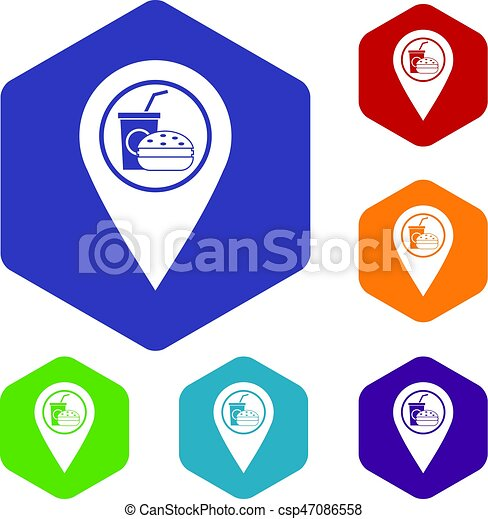 Fast food and restaurant map pointer icons set - csp47086558