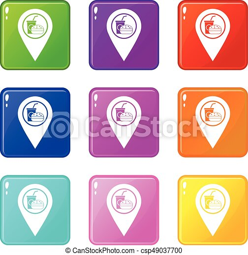 Fast food and restaurant map pointer icons 9 set - csp49037700