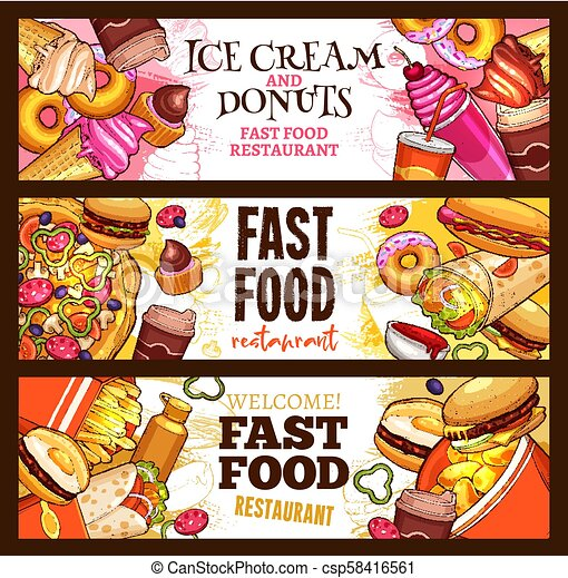 Fast Food Burger Restaurant Menu Banner Design Fast Food Restaurant