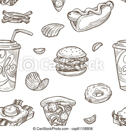 Fast Food Burgers And Soda Drinks Seamless Pattern Vector