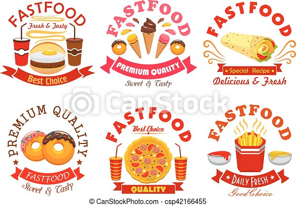 Fast Food Restaurants Symbols Fast Food Restaurant And Coffee Shop