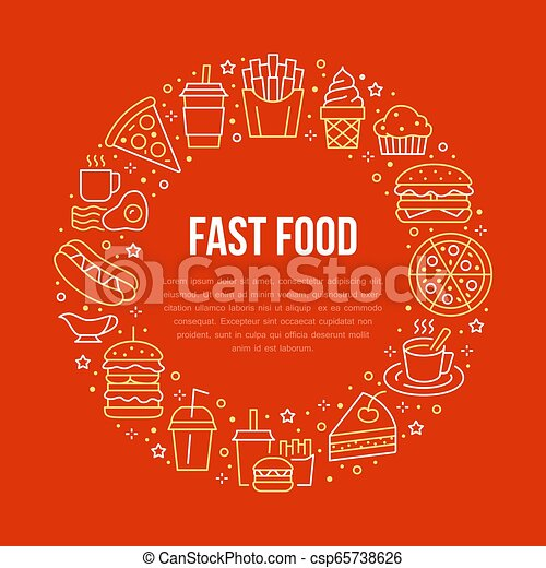 Fast food circle illustration with flat line icons. Thin vector signs for restaurant menu poster - burger, french fries, soda, cheesecake, coffee, pizza, hot dog, ice cream, muffin. Junk food concept - csp65738626