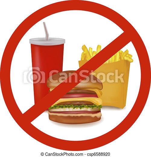 Fast food danger label (colored).  - csp6588920