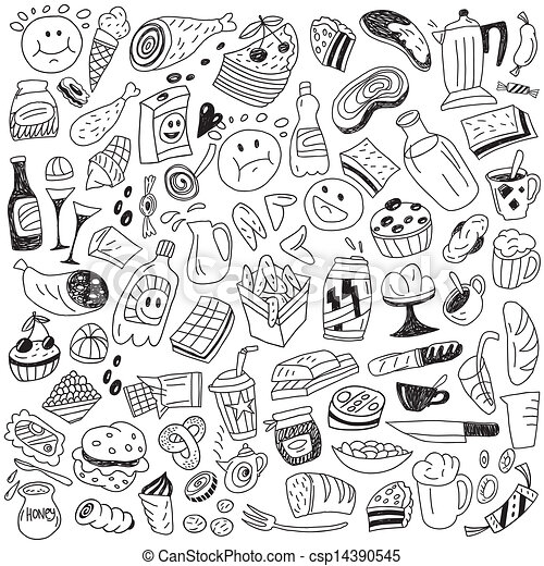 Fast Food Doodles Fast Food Icons In Sketch Style Set