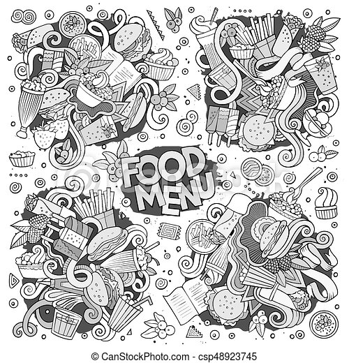 Fast Food Doodles Hand Drawn Sketchy Vector Symbols And Objects