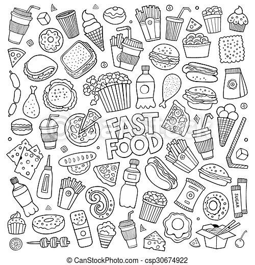 Fast Food Doodles Hand Drawn Symbols Sketchy Hand Drawn Doodle