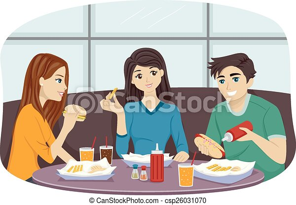 Fast Food Friends Illustration Of A Group Of Friends Eating