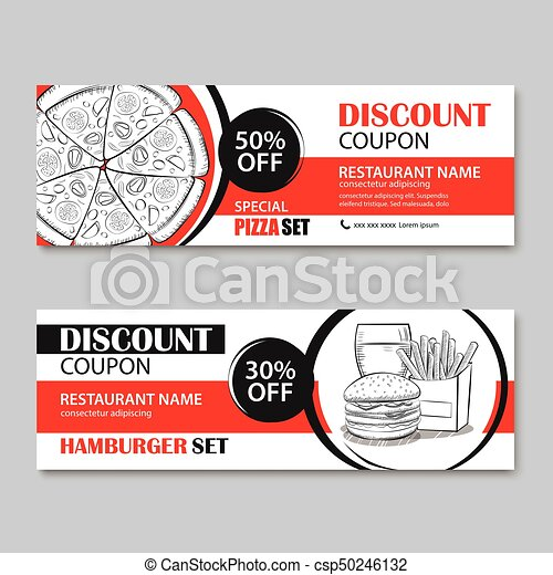 Fast Food Gift Voucher And Coupon Sale Discount Template Flat Design