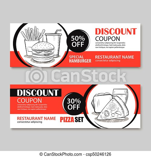 Fast food gift voucher and coupon sale discount template... vector ...