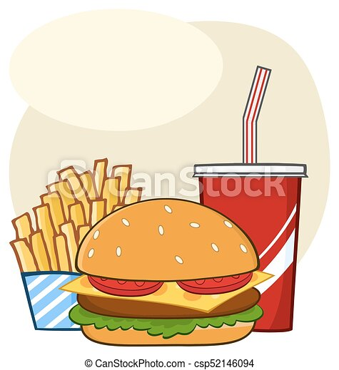 fast food hamburger drink and french fries cartoon drawing simple
