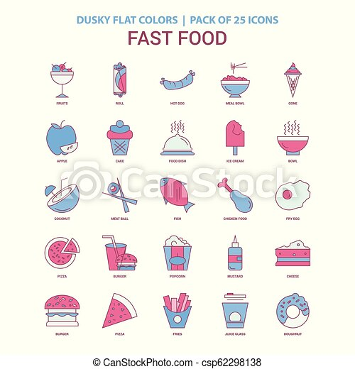 Fast food icon Dusky Flat color - Vintage 25 Icon Pack - csp62298138