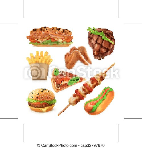 Fast food icons - csp32797670