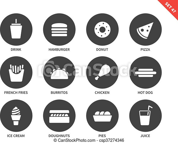 Fast food icons on white background - csp37274346