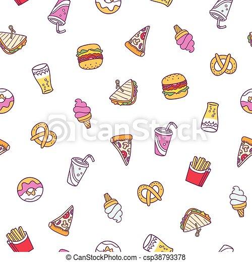 Fast food illustrations seamless pattern - csp38793378