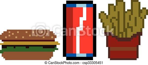 Fast Food In Pixel Art Style