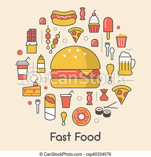 Fast Food Line Art Thin Vector Icons Set with Burger Pizza and Junk Food - csp40334076