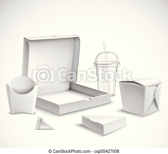 Fast food packaging realistic set. Fast food blank white packaging ...