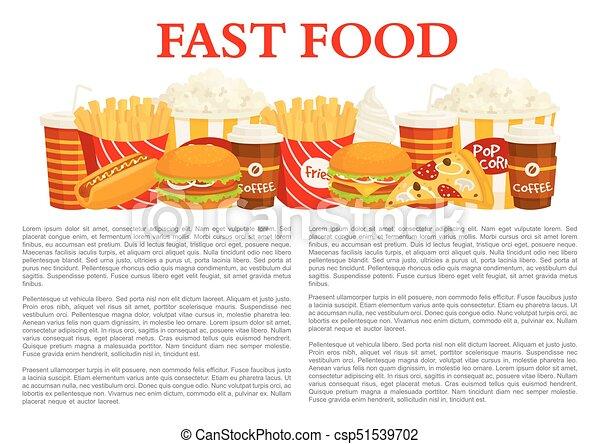 Fast Food Poster Of Vector Burger Drink Dessert Fast Food Poster