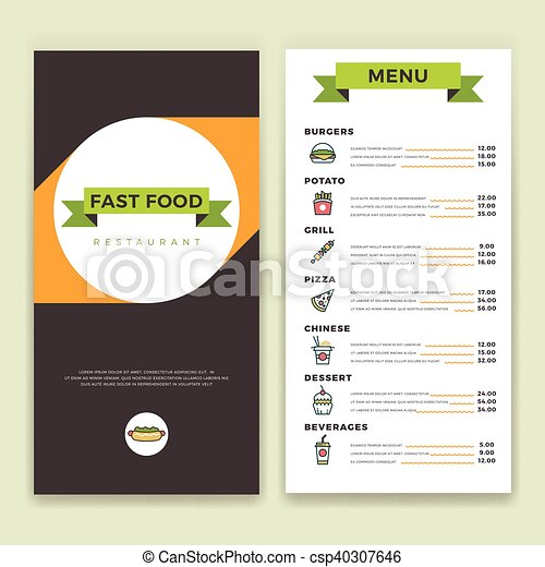 Fast food restaurant and cafe menu vector template with flat line ...