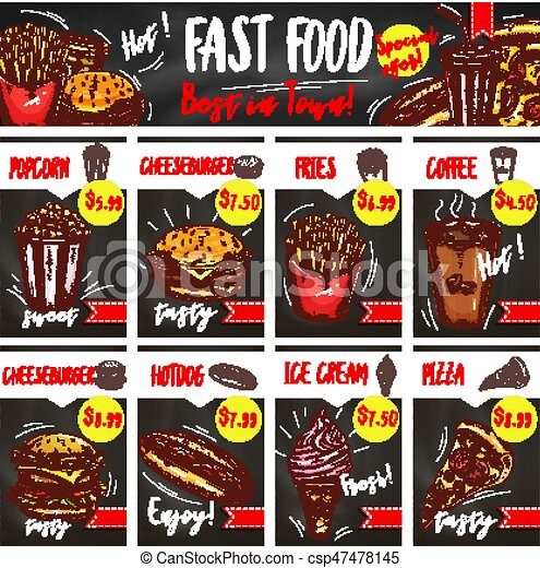 fast food restaurant menu board template design fast food