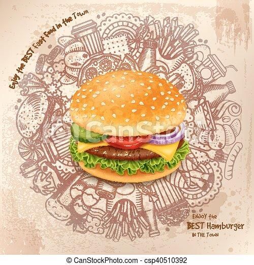 Fast Food Round Design - csp40510392