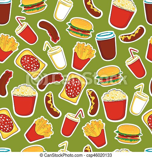 Fast Food Seamless Background Fast Food Cartoon Stickers And