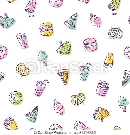 Fast food seamless pattern - csp38793380