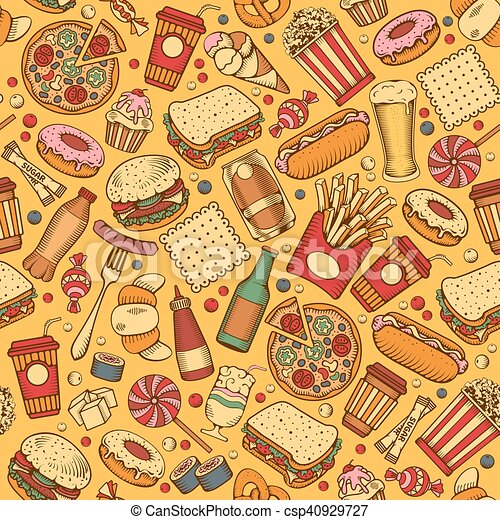 Fast Food seamless pattern - csp40929727