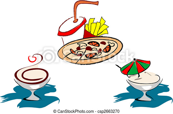 Sketch Of Fast Food Symbols For Design Vector Clipart Search