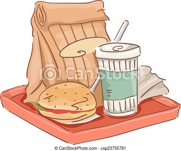 Fast food tray. Illustration featuring common fast food ...