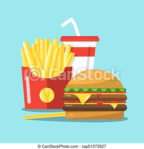 Fast Food Vector Cartoon. French Fries, Hamburger and Soda Flat Design Illustration. - csp51073527