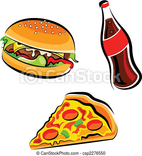 cartoon illustration of various fast food burger cola and rh canstockphoto com food vector pack free food vector free
