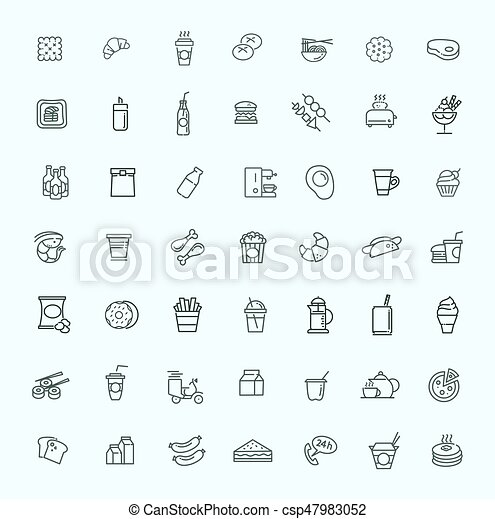 Fast food vector outline icons set. Cooking - csp47983052