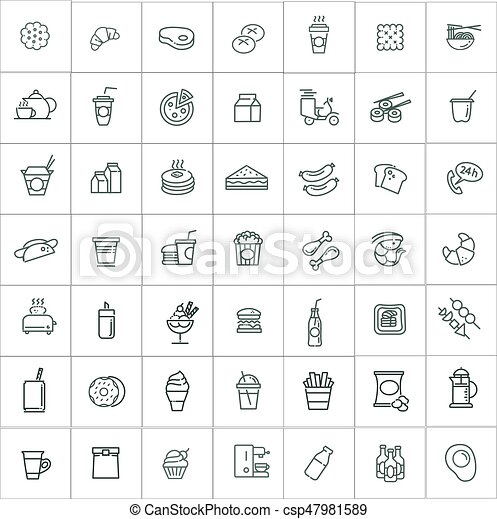 Fast food vector outline icons set. Cooking - csp47981589