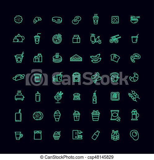 Fast food vector outline icons set. Cooking - csp48145829