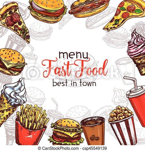 Fast Food Vector Sketch Menu Template Fast Food Menu Template Of